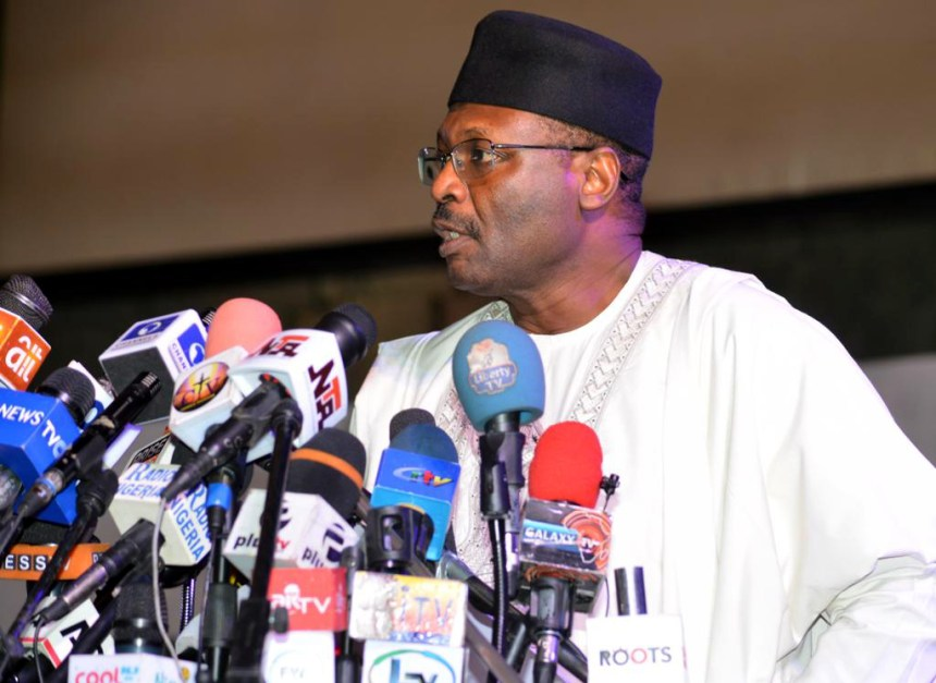 Independent National Electoral Commission (INEC) Chairman, Prof. Mahmood Yakubu, addressing a stakeholders meeting on 2019 General Elections' postponement, in Abuja on Saturday (16/2/19). 01462/16/2/2019/Sumaila Ibrahim/BJO/NAN