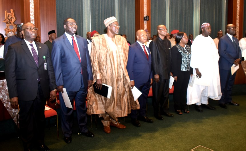 A cross-section of newly appointed Federal Permanent Secretaries, during their inauguration by President Muhammadu Buhari at the Council Chambers, Presidential Villa in Abuja on Wednesday (20/2/19). 01517/20/02/2019/Callistus Ewelike/JAU/BJO/NAN