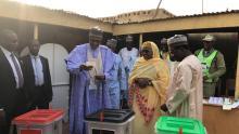 President Buhari and wife voting in Daura, Katsina State.