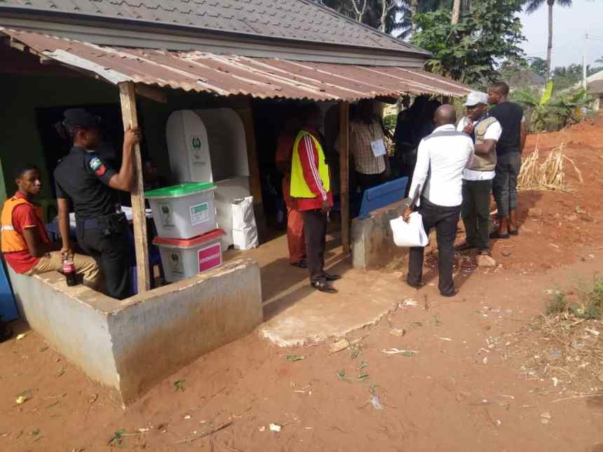 Ward 1, unit 1 at Ogboko Village in Ideato south, Imo state, Election process yet to start.INEC officials are still setting up the Centre, addressing the voters.
