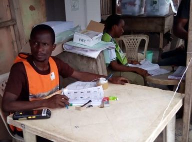 12:29pm at Ward D, PU 04, Ipaja road, Agege LGA, Lagos West, Lagos. Security men did not show up at all according to PO Anita Okedi. She said that out of 706 accreditated voters, 95came out to vote