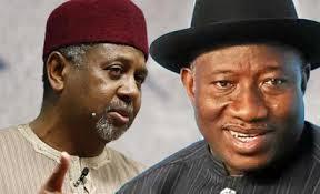 Sambo Dasuki (L) and former President Goodluck Jonathan (R)