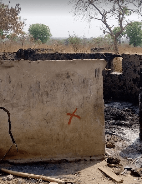 Razed home of the Fulani