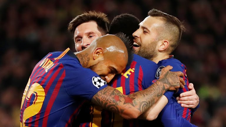 Barcelona players celebrate goal