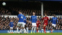 Mohamed Salah shot at goal (Photo Credit: Reuters)