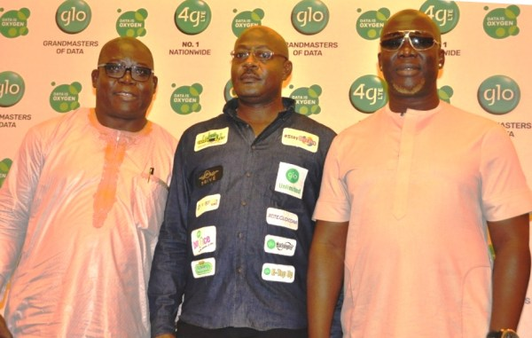Dele Fanimo, Chief Operating Officer, Leadership Newspapers, Abuja; Bisi Koleosho, Deputy Chief Operating Officer (Technical) Globacom, and Godwin Komone, aka Gordons , at the presentation of Globacom's New Communications Direction in Lagos on Friday.