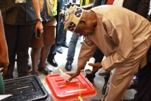 Pic. 54. All Progressives Congress (APC), National Leader Bola Tinubu voting at Ikeja Local Government Alausa/Oregun/Olusosun Ward 03 Unit 047 during the Governorship and Houses of Assembly Elections in