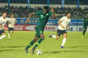 Super Eagles striker Paul Onuachu in action PHOTO CREDIT PREMIUM TIMES