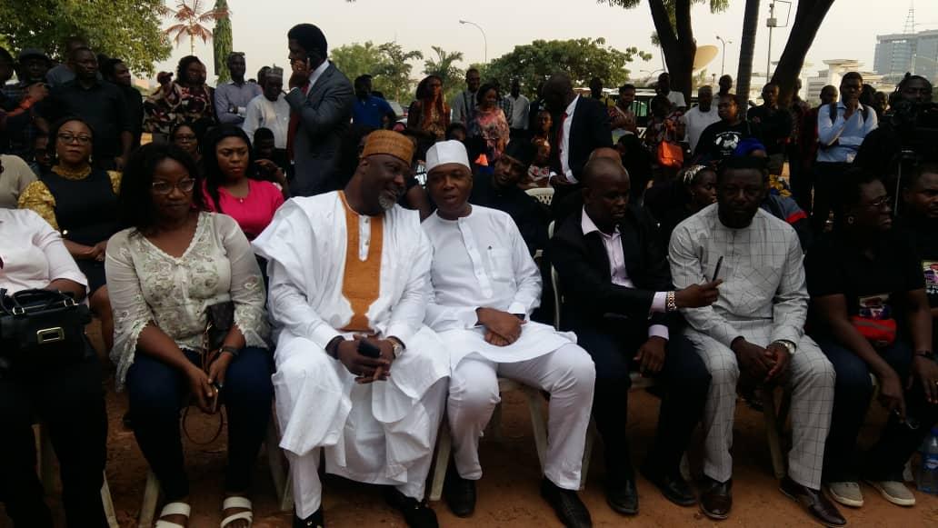 Dino Melaye and Senate President, Bukola Saraki at the candlelight procession for Late Pius Adesanmi