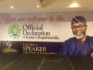 Venue of the official declaration of Femi Gbajabiamila for the office of the Speaker, House of Representatives.