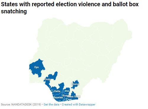 Map showing states affected by election violence and ballot box snatching (NAN)