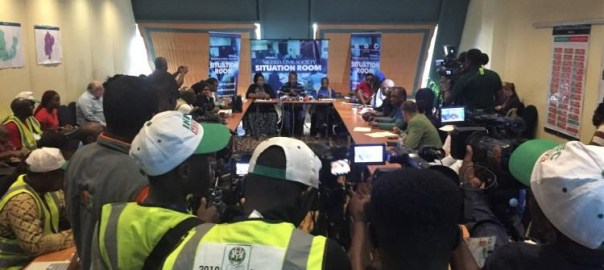 Journalists in Abuja gather on March 9 during Nigeria's gubernatorial and state assembly elections to report on a press briefing at the Civil Society Situation Room, which collected information from thousands of election observers, including on attacks against the press. (Jonathan Rozen/CPJ)
