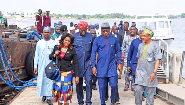 L-R: NPA Board Member, Dr. Ekpa Anthonia Akpabio, Chairman NPA Board, Emmanuel Adesoye, the Representative of the Managing Director of the Nigerian Ports Authority (NPA), the Executive Director, Marine & Operations, Dr. Sokonte Davies and the Port Manager, Tin Can Island Port Complex, Engr. Emmanuel Akporherhe during the tour of the Ports.