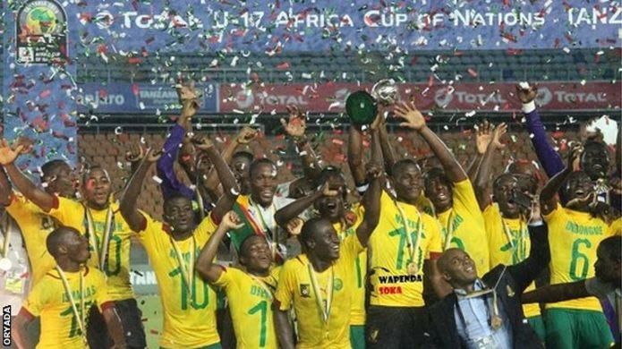 Cameroon celebrate after beating Guinea to win the U-17 Africa Cup of Nations (Photo Credit: BBC)