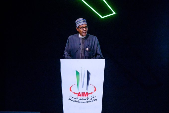 President Muhammadu Buhari today in Dubai, delivered the Keynote Address at the Annual Investment Meeting and toured the Exhibition Stands of the annual meeting