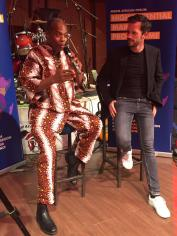 CEO of MIDEM, Alexandre Deniot and Femi Kuti at the Midem press conference at the New African Shrine