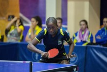 Nigeria's Aiyelabegan Sukurat in action at the ongoing African junior championship in Accra PHOTO CREDIT: NTTF Media