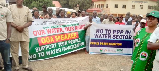 Amalgamated Union of Public Corporations Civil Service Technical and Recreational Services Employees (AUPCTRE) protesting at the Plateau State House of Assembly