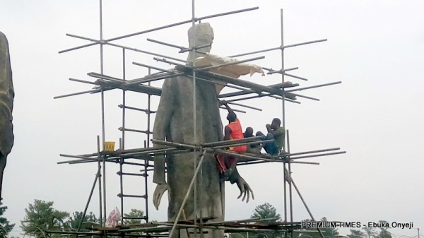 Statue of President Muhammadu Buhari currently being molded at the Hero Square.
