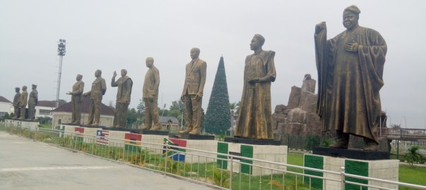 Cross-section of statues at the Hero Square in Owerri.