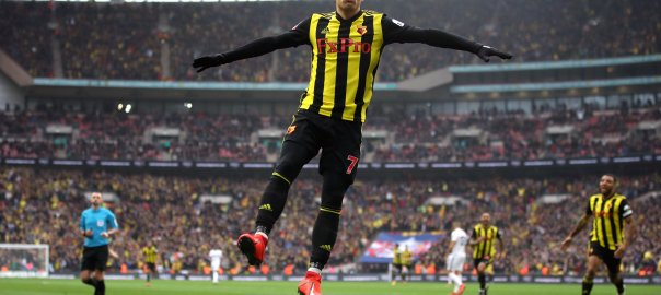 Watford's Deulofeu celebrate after scoring against Wolves (Photo Credit: Squawka News on Twitter)