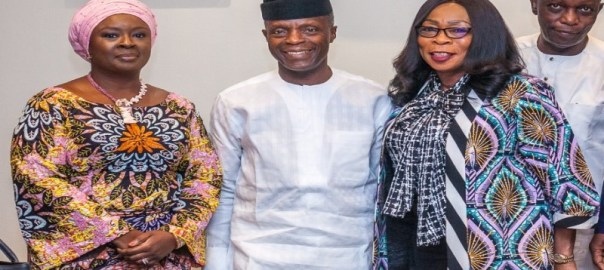 L-R: NDIC Board Chairperson, Ronke Sokefun with Vice President Yemi Osinbajo, and NDIC Executive Director Corporate Services, Omolola Abiola-Edewor during the NDIC Boards' visit to the Villa on Tuesday.jpg