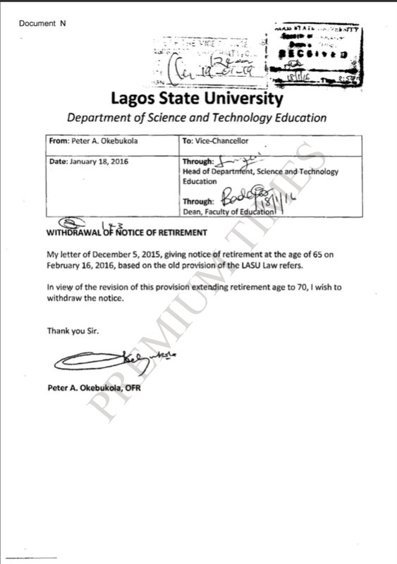 Letter by Okebukola Withdrawing his Notice of Retirement