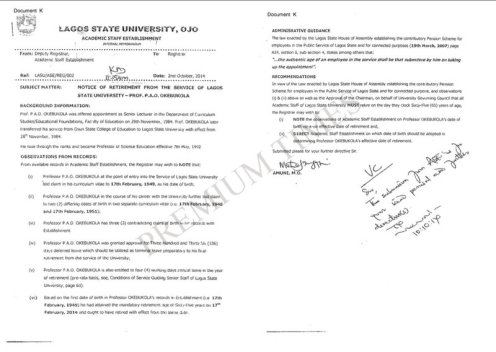 Memo from LASU Academic Establishment Showing LASU Management Knew of Pro Okebukola's Age Falsification