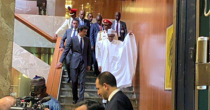 President Muhammadu Buhari with the Emir of Qatar, Sheikh Tamim bin Hamad Althani