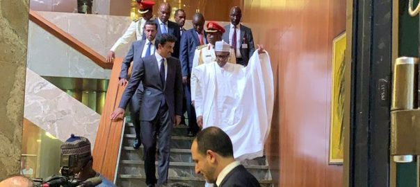 President Muhammadu Buhari with the Emir of Qatar, Sheikh Tamim bin Hamad Althani