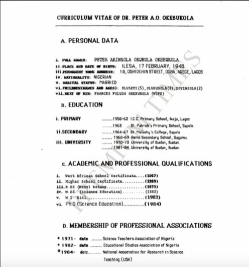 Okebukola's CV with a 1948 Date of Birth