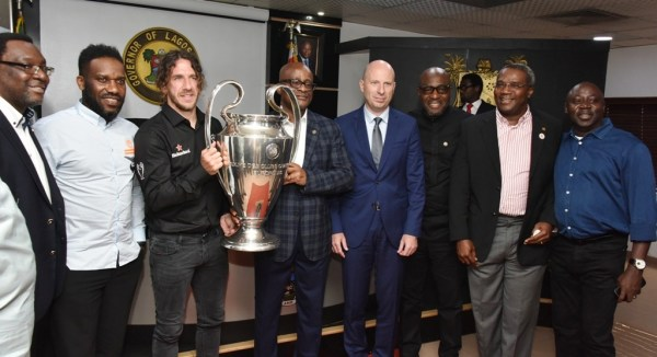 L-R: Commissioner for Tourism, Arts and Culture, Mr. Steve Ayorinde; Ex-Nigeria International, Austin JayJay Okocha; UEFA Champions League winner and former Barcelona FC Defender, Carles Puyol; representative of Lagos State Governor and Chairman, the State Sports Commission (LSSC), Dr. Kweku Tandoh; Managing Director, Nigerian Breweries PLC, Mr. Jordi Borrut Bel; Special Adviser to the Governor on Education, Mr. Obafela Bank-Olemoh; Director-General, LSSC, Mr. Babatunde Bank-Anthony and Chief Press Secretary to the Governor, Mr. Habib Aruna during the UEFA Champions League Trophy Tour to the Lagos House, Alausa, Ikeja, on Wednesday, April 17, 2019.