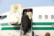 President Muhammadu Buhari coming down from the plane.