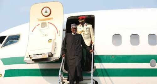 President Muhammadu Buhari coming down from the plane.