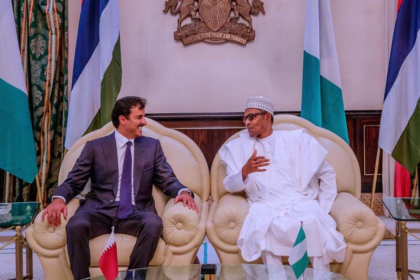 President Muhammadu Buhari with the Emir of Qatar, Tamim bin Hamad Al-thani, at State House, Abuja (Photo Credit: Bashir Ahmad on Twitter)
