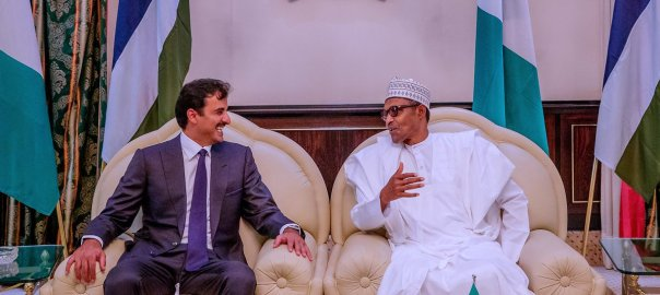 President Muhammadu Buhari with the Emir of Qatar, Tamim bin Hamad Al-thani, at State House, Abuja (Photo Credit: Bashir Ahmad on Twitter)