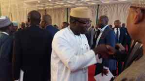 Governors exchange pleasantries at the NGF Induction for governors
