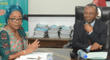 R-L: The Auditor-General of the Federation (AuGF), Anthony Ayine, during a courtesy visit by the Executive Secretary of Pension Transitional Arrangement Directorate (PTAD), Sharon Ikeazor, in Abuja on Wednesday.