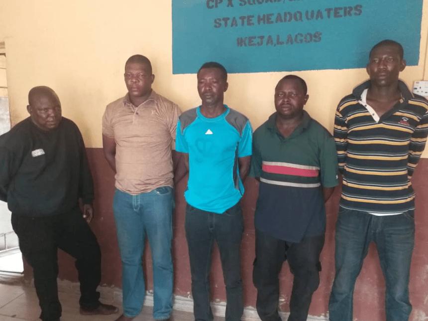 The five police men arrested.