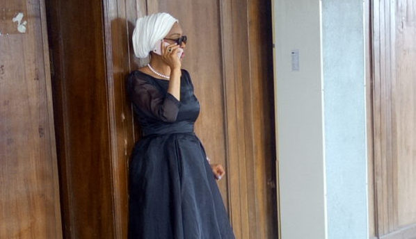 Justice Rita Ofili-Ajumogobia, a dismissed judge of the Federal High Court, seen making a phone call at an Ikeja High Court before being apprehended by the EFCC on Tuesday.