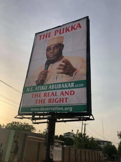 A Bill board bearing Atiku Pukka campaign