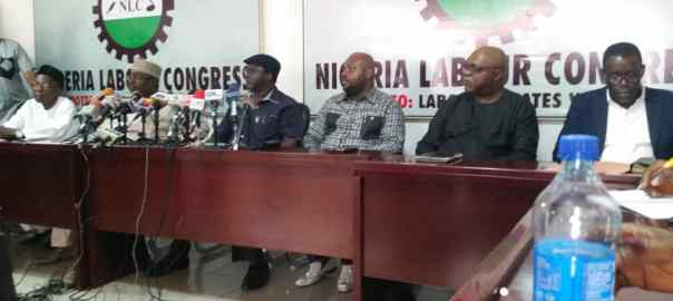 The leadership of the labour congress today at a press briefing over NSITF