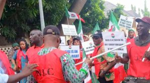Nigerian Labour Congress, NLC, protesting against Labour Minister, Chris Ngige.