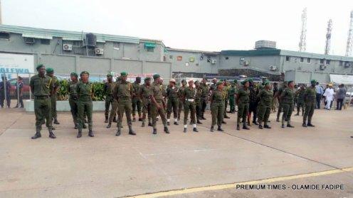 Army rehearsing at the inauguration of Sanwo-Olu.