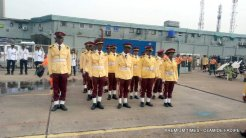 Road Safety rehearsing for the parade at inauguration of Sanwo-Olu.