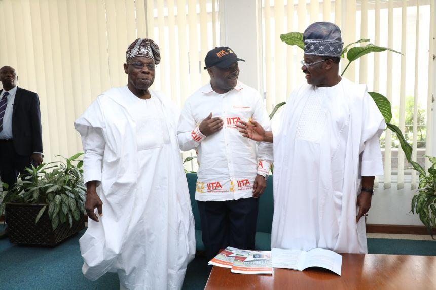 L-R- Former Nigeria President, and IITA Goodwill Ambassador, Chief Olusegun Obasanjo; IITA Director General, Dr Nteranya Sanginga; and Oyo State Governor, Senator Abiola Ajimobi during the commissioning of projects in IITA today (Saturday)