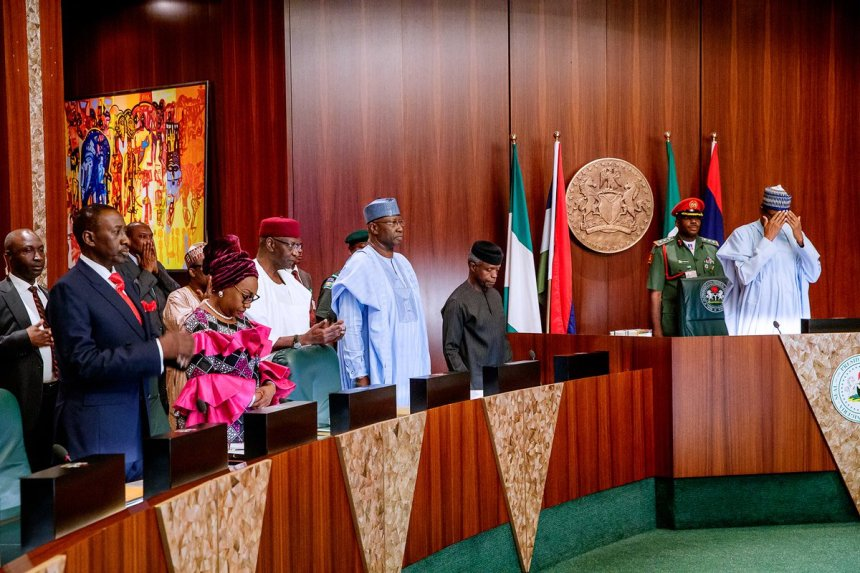 President @MBuhari presides over Valedictory Meeting of the Federal Executive Council (FEC) today at the State House, Abuja