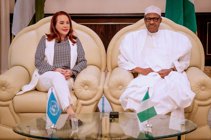 President of the 73rd United Nations General Assembly (UNGA), Maria Garces and Nigeria President, Muhammadu Buhari