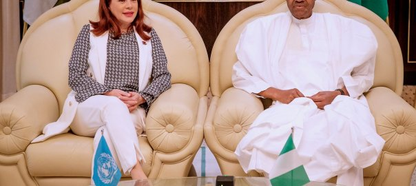 President of the 73rd United Nations General Assembly (UNGA), Maria Garces and Nigeria President, Muhammadu Buhari