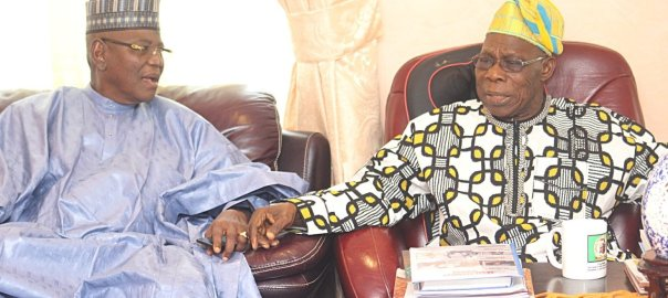 Former President Olusegun Obasanjo and Sule Lamido. [PHOTO CREDIT: Daily Post Nigeria]